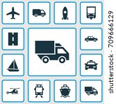 transport icons set. collection ... | Shutterstock .eps vector #709666129