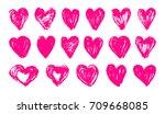 Set Pink Heart  Love Vector....