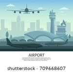 airport and transportation... | Shutterstock .eps vector #709668607