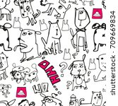 seamless pattern with doodle... | Shutterstock .eps vector #709669834