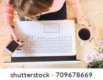 woman working at the table. top ... | Shutterstock . vector #709678669
