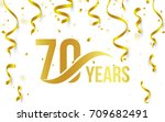 isolated golden color number 70 ... | Shutterstock .eps vector #709682491
