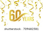 isolated golden color number 60 ... | Shutterstock .eps vector #709682581