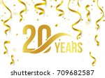 isolated golden color number 20 ... | Shutterstock .eps vector #709682587
