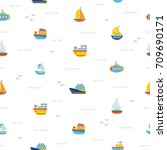seamless pattern with nautical... | Shutterstock .eps vector #709690171