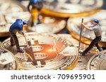 macro miner figures working on... | Shutterstock . vector #709695901
