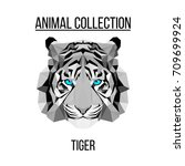 geometric vector animal blue... | Shutterstock .eps vector #709699924