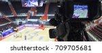 tv camera before the broadcast...   Shutterstock . vector #709705681