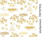 beautiful japanese seamless ... | Shutterstock .eps vector #709707931