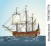 vector drawing of a   historic... | Shutterstock .eps vector #709708774