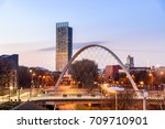 the hulme arch bridge and... | Shutterstock . vector #709710901