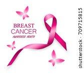 breast cancer awareness pink... | Shutterstock .eps vector #709715815