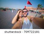 tourist in marrakech in jamaa... | Shutterstock . vector #709722181