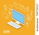 internet service infographic | Shutterstock .eps vector #709725517