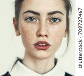 sensual portrait of a beautiful ... | Shutterstock . vector #709727467