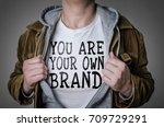 man showing you are your own... | Shutterstock . vector #709729291