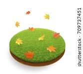 autumn icon. leaf fall over the ... | Shutterstock .eps vector #709737451