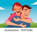 happy couple playing piggyback... | Shutterstock .eps vector #70974286