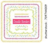 hand drawn set of doodle border ... | Shutterstock .eps vector #709744009