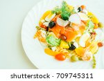 mixed seafood with fresh...   Shutterstock . vector #709745311
