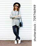 fashion pretty smiling woman... | Shutterstock . vector #709746949