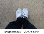 gray slippers  close up of... | Shutterstock . vector #709755244