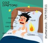 cold symptoms   vector... | Shutterstock .eps vector #709755511