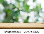 wood shelf table with garden... | Shutterstock . vector #709756327