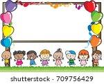 cartoon kids with border | Shutterstock .eps vector #709756429