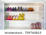 collection of women's shoes on... | Shutterstock . vector #709760815