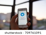 kazan russia 07.08.2016  iphone ... | Shutterstock . vector #709761091