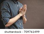 pay respect prayer concept for... | Shutterstock . vector #709761499