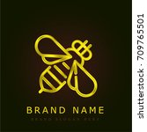 bee golden metallic logo