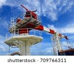 crane operation  crane boom ... | Shutterstock . vector #709766311