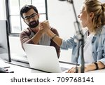 computer technicians friends... | Shutterstock . vector #709768141