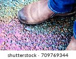 oil stain on the asphalt road...   Shutterstock . vector #709769344