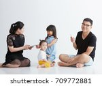 asian children with family play ... | Shutterstock . vector #709772881