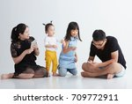 asian children with family play ... | Shutterstock . vector #709772911