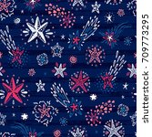 starry sky background. hand...   Shutterstock .eps vector #709773295