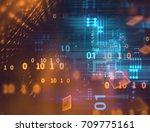 blue geometric abstract... | Shutterstock . vector #709775161