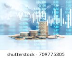 graph coins stock finance and... | Shutterstock . vector #709775305