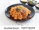 korean spicy instant noodles on ... | Shutterstock . vector #709778299