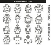 robot character icons in line... | Shutterstock .eps vector #709780081