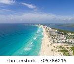 aerial cancun beach drone | Shutterstock . vector #709786219