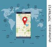 gps navigation app icons | Shutterstock .eps vector #709786915