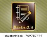 golden emblem with notebook... | Shutterstock .eps vector #709787449