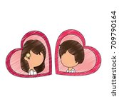 cute couple just married with... | Shutterstock .eps vector #709790164