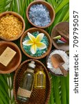 sea salt in wooden bowl with... | Shutterstock . vector #709795057