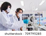 women scientist learning how to ... | Shutterstock . vector #709795285