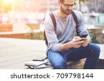 pensive bearded traveller in... | Shutterstock . vector #709798144